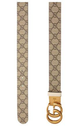 Женский ремень GUCCI бежевого цвета, арт. 659416/92TIC   Фото 2 (Материал: Текстиль, Синтетический материал)