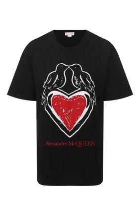 Женская хлопковая футболка ALEXANDER MCQUEEN черного цвета, арт. 668432/QZADP | Фото 1