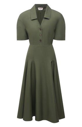 Женское хлопковое платье ALEXANDER MCQUEEN хаки цвета, арт. 666336/QAAAY | Фото 1
