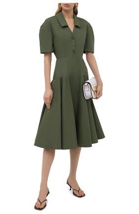 Женское хлопковое платье ALEXANDER MCQUEEN хаки цвета, арт. 666336/QAAAY | Фото 2