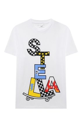 Детская хлопковая футболка STELLA MCCARTNEY белого цвета, арт. 602253/SQJ92 | Фото 1