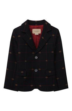 Детский пиджак из шерсти и хлопка GUCCI темно-синего цвета, арт. 660169/XWA0Q   Фото 1