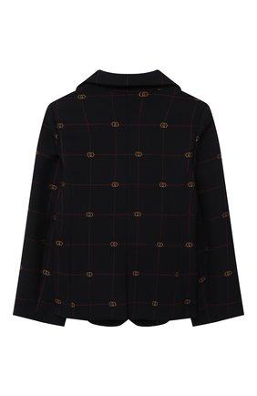 Детский пиджак из шерсти и хлопка GUCCI темно-синего цвета, арт. 660169/XWA0Q   Фото 2