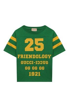 Детская хлопковая футболка GUCCI зеленого цвета, арт. 661143/XJDMC | Фото 1