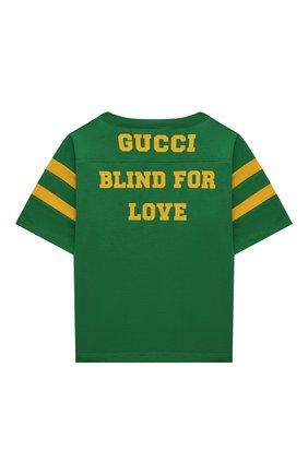 Детская хлопковая футболка GUCCI зеленого цвета, арт. 661143/XJDMC | Фото 2