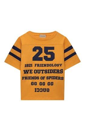 Детская хлопковая футболка GUCCI оранжевого цвета, арт. 661143/XJDKW | Фото 1
