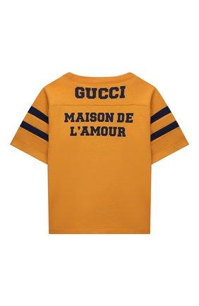 Детская хлопковая футболка GUCCI оранжевого цвета, арт. 661143/XJDKW | Фото 2