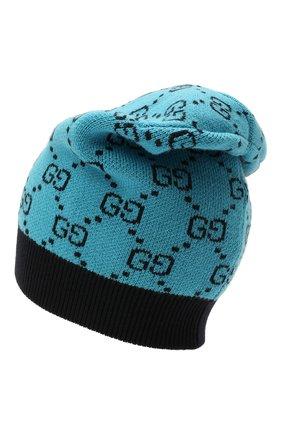 Мужская шапка из шерсти и хлопка GUCCI бирюзового цвета, арт. 664983/3GF10 | Фото 2