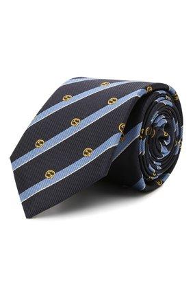 Мужской шелковый галстук GUCCI темно-синего цвета, арт. 660058/4E002 | Фото 1 (Материал: Текстиль; Принт: С принтом)