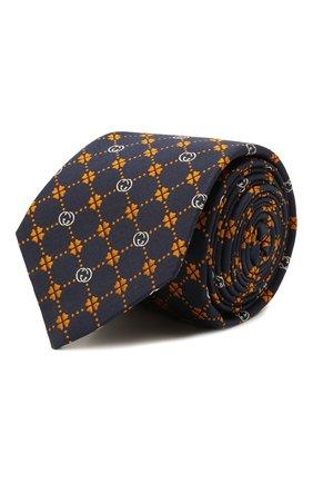 Мужской шелковый галстук GUCCI темно-синего цвета, арт. 658242/4E002 | Фото 1 (Материал: Текстиль, Шелк; Принт: С принтом)