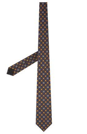 Мужской шелковый галстук GUCCI темно-синего цвета, арт. 658242/4E002 | Фото 2 (Материал: Текстиль, Шелк; Принт: С принтом)