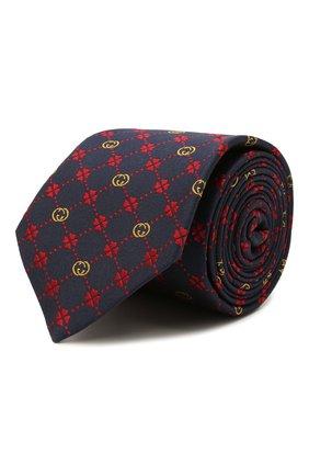 Мужской шелковый галстук GUCCI темно-синего цвета, арт. 658242/4E002   Фото 1