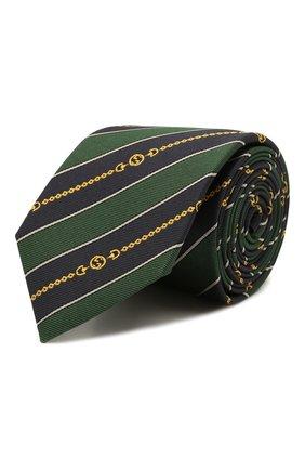 Мужской шелковый галстук GUCCI зеленого цвета, арт. 643929/4E002 | Фото 1 (Материал: Текстиль; Принт: С принтом)