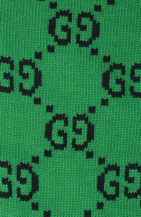 Мужские хлопковые гольфы GUCCI зеленого цвета, арт. 471093/4G592 | Фото 2 (Материал внешний: Хлопок; Кросс-КТ: бельё)