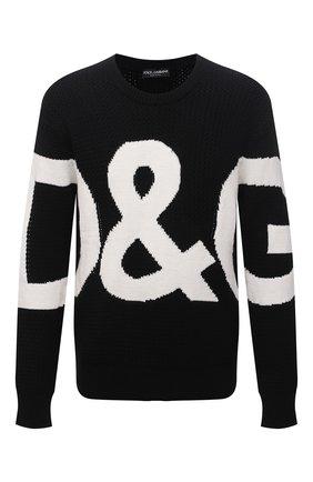 Мужской шерстяной свитер DOLCE & GABBANA черного цвета, арт. GXG69T/JBVD8   Фото 1 (Материал внешний: Шерсть; Длина (для топов): Стандартные; Рукава: Длинные; Стили: Кэжуэл; Мужское Кросс-КТ: Свитер-одежда; Принт: С принтом)