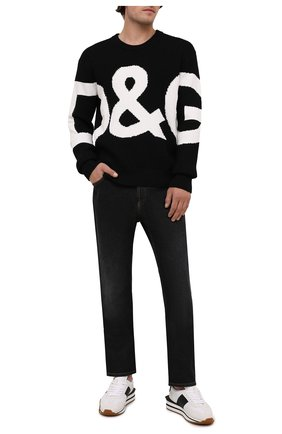 Мужской шерстяной свитер DOLCE & GABBANA черного цвета, арт. GXG69T/JBVD8   Фото 2 (Материал внешний: Шерсть; Длина (для топов): Стандартные; Рукава: Длинные; Стили: Кэжуэл; Мужское Кросс-КТ: Свитер-одежда; Принт: С принтом)