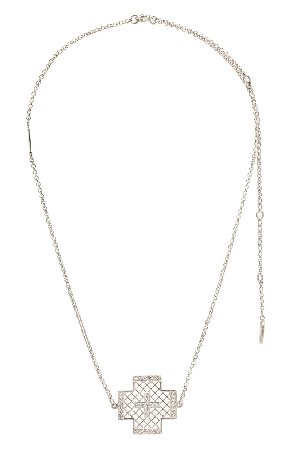 Женское колье крест dashing DZHANELLI серебряного цвета, арт. 042   Фото 1 (Материал: Серебро)