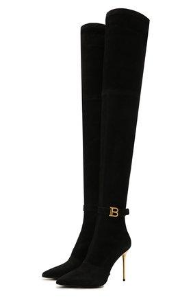 Женские замшевые ботфорты BALMAIN черного цвета, арт. WN1TB568/LMTH   Фото 1 (Материал внутренний: Натуральная кожа; Материал внешний: Замша; Каблук тип: Шпилька; Каблук высота: Высокий; Подошва: Плоская; Высота голенища: Высокие)