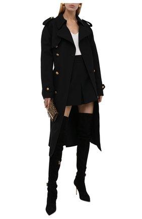 Женские замшевые ботфорты BALMAIN черного цвета, арт. WN1TB568/LMTH   Фото 2 (Материал внутренний: Натуральная кожа; Материал внешний: Замша; Каблук тип: Шпилька; Каблук высота: Высокий; Подошва: Плоская; Высота голенища: Высокие)