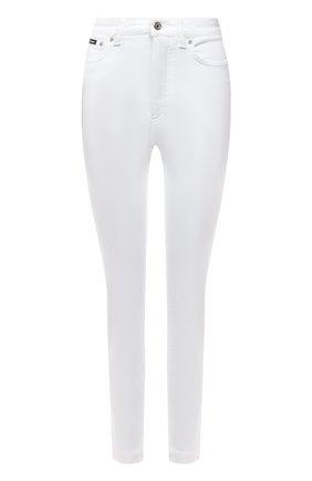 Женские джинсы DOLCE & GABBANA белого цвета, арт. FTAH6D/G899M   Фото 1 (Длина (брюки, джинсы): Стандартные; Материал внешний: Хлопок; Кросс-КТ: Деним; Силуэт Ж (брюки и джинсы): Скинни; Стили: Гламурный)
