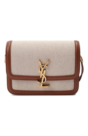 Женская сумка solferino ysl lock SAINT LAURENT светло-коричневого цвета, арт. 634306/HZD1W | Фото 1 (Сумки-технические: Сумки через плечо; Ремень/цепочка: На ремешке; Размер: mini; Материал: Текстиль)