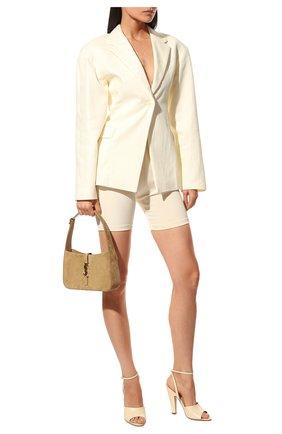 Женские кожаные босоножки SAINT LAURENT кремвого цвета, арт. 661371/19X00 | Фото 2 (Материал внутренний: Натуральная кожа; Каблук тип: Устойчивый; Каблук высота: Высокий; Подошва: Плоская)