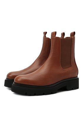 Женские кожаные ботинки KITON оранжевого цвета, арт. D52803X04R81 | Фото 1 (Материал внутренний: Натуральная кожа; Женское Кросс-КТ: Челси-ботинки; Каблук высота: Низкий; Подошва: Платформа)