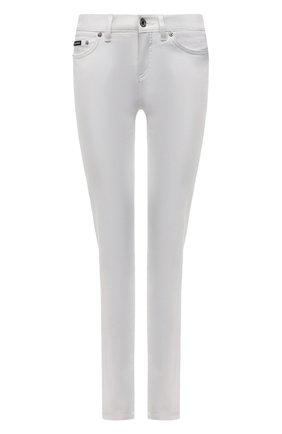 Женские джинсы DOLCE & GABBANA белого цвета, арт. FTAH8D/G899M   Фото 1 (Материал внешний: Хлопок; Длина (брюки, джинсы): Стандартные; Стили: Гламурный; Кросс-КТ: Деним; Силуэт Ж (брюки и джинсы): Скинни)