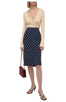 Женская юбка из вискозы RALPH LAUREN синего цвета, арт. 290843997 | Фото 2 (Материал внешний: Вискоза; Стили: Кэжуэл; Женское Кросс-КТ: Юбка-одежда; Длина Ж (юбки, платья, шорты): До колена)