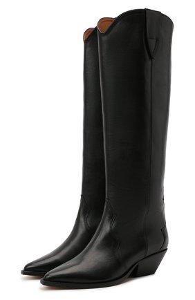 Женские кожаные сапоги denvee ISABEL MARANT черного цвета, арт. DENVEE/BT0072-00M017S   Фото 1 (Материал внутренний: Натуральная кожа; Каблук высота: Низкий; Каблук тип: Устойчивый; Подошва: Плоская; Высота голенища: Высокие)
