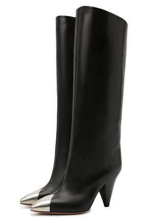 Женские кожаные сапоги lilezio ISABEL MARANT черного цвета, арт. LILEZI0/BT0214-21A044S | Фото 1 (Высота голенища: Средние; Материал внутренний: Натуральная кожа; Каблук тип: Устойчивый; Подошва: Плоская; Каблук высота: Высокий)
