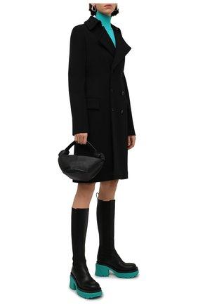 Женские кожаные сапоги BOTTEGA VENETA бирюзового цвета, арт. 667149/VBS50 | Фото 2