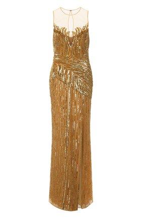 Женское платье с пайетками ZUHAIR MURAD золотого цвета, арт. DRS21018/EMCA001   Фото 1 (Материал внешний: Синтетический материал; Женское Кросс-КТ: Платье-одежда; Материал подклада: Шелк; Длина Ж (юбки, платья, шорты): Макси; Случай: Вечерний; Стили: Гламурный)