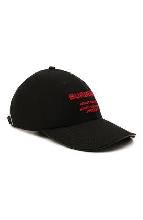 Женская хлопковая бейсболка BURBERRY черного цвета, арт. 8043040 | Фото 1
