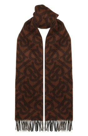 Женский кашемировый шарф BURBERRY коричневого цвета, арт. 8043734 | Фото 1