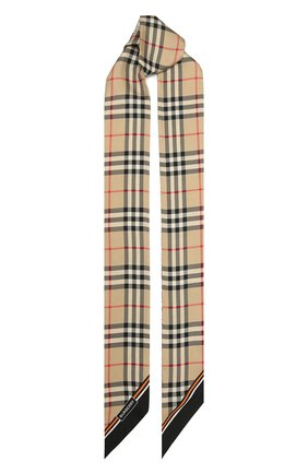 Женский шелковый платок BURBERRY бежевого цвета, арт. 8043353 | Фото 1