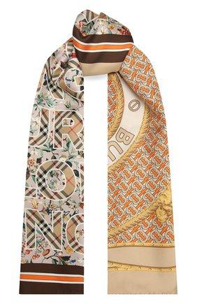 Женский шелковый платок BURBERRY бежевого цвета, арт. 8043167 | Фото 1