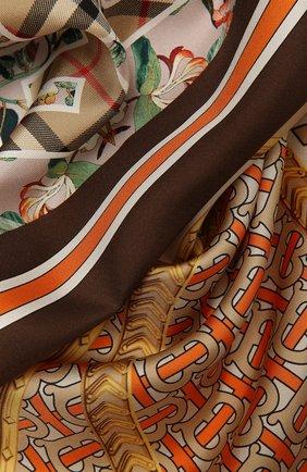 Женский шелковый платок BURBERRY бежевого цвета, арт. 8043167 | Фото 2