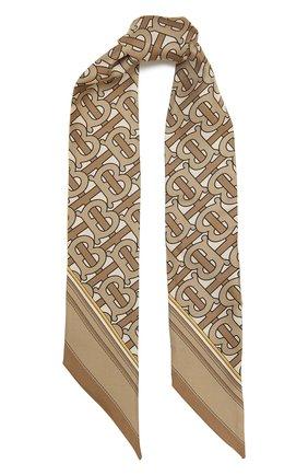 Женский шелковый шарф BURBERRY бежевого цвета, арт. 8042630 | Фото 1