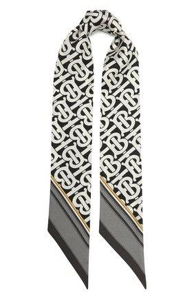 Женский шелковый шарф BURBERRY черно-белого цвета, арт. 8042629 | Фото 1