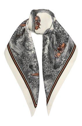 Женский шелковый платок BURBERRY бежевого цвета, арт. 8041738 | Фото 1