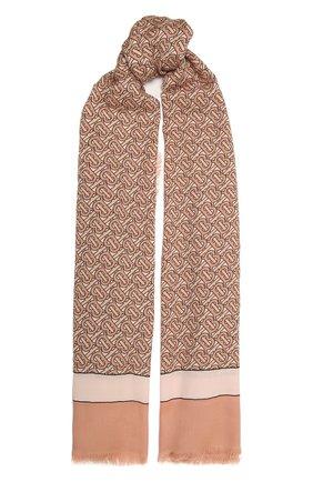 Женский кашемировый шарф BURBERRY розового цвета, арт. 8027351 | Фото 1