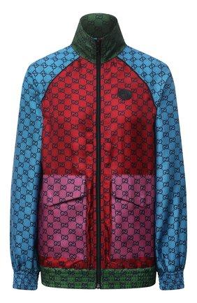 Женский шелковый бомбер GUCCI красного цвета, арт. 660265/XJDJJ | Фото 1 (Длина (верхняя одежда): Короткие; Материал внешний: Шелк; Рукава: Длинные; Кросс-КТ: Куртка, бомбер; Стили: Спорт-шик)