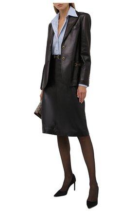 Женский кожаный жакет GUCCI черного цвета, арт. 659236/XNA0U | Фото 2 (Длина (для топов): Стандартные; Случай: Повседневный; Материал подклада: Шелк; Рукава: Длинные; Женское Кросс-КТ: Замша и кожа, Жакет-одежда; 1-2-бортные: Однобортные; Стили: Гламурный)