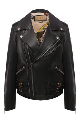 Женская кожаная куртка GUCCI черного цвета, арт. 629189/XN336 | Фото 1
