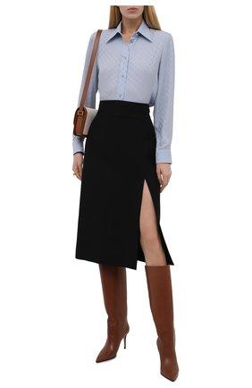 Женская юбка из шелка и шерсти GUCCI черного цвета, арт. 623173/ZAD88 | Фото 2 (Материал внешний: Шелк, Шерсть; Длина Ж (юбки, платья, шорты): Миди; Женское Кросс-КТ: Юбка-одежда; Стили: Гламурный)