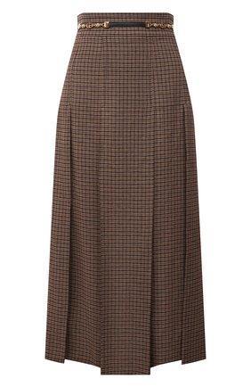 Женская льняная юбка GUCCI коричневого цвета, арт. 652132/Z8A0C | Фото 1 (Материал внешний: Лен; Длина Ж (юбки, платья, шорты): Миди; Женское Кросс-КТ: Юбка-одежда; Стили: Гламурный)