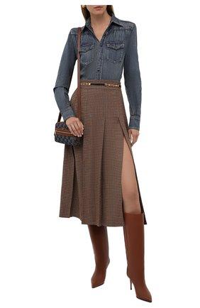 Женская льняная юбка GUCCI коричневого цвета, арт. 652132/Z8A0C | Фото 2 (Материал внешний: Лен; Длина Ж (юбки, платья, шорты): Миди; Женское Кросс-КТ: Юбка-одежда; Стили: Гламурный)