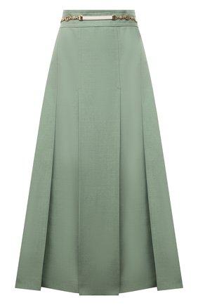 Женская юбка из вискозы и льна GUCCI зеленого цвета, арт. 652132/Z8A0D | Фото 1 (Длина Ж (юбки, платья, шорты): Миди; Женское Кросс-КТ: Юбка-одежда; Стили: Гламурный; Материал внешний: Вискоза)