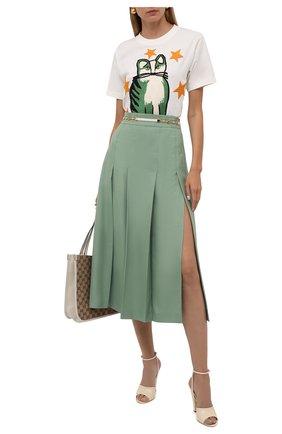 Женская юбка из вискозы и льна GUCCI зеленого цвета, арт. 652132/Z8A0D | Фото 2 (Длина Ж (юбки, платья, шорты): Миди; Женское Кросс-КТ: Юбка-одежда; Стили: Гламурный; Материал внешний: Вискоза)